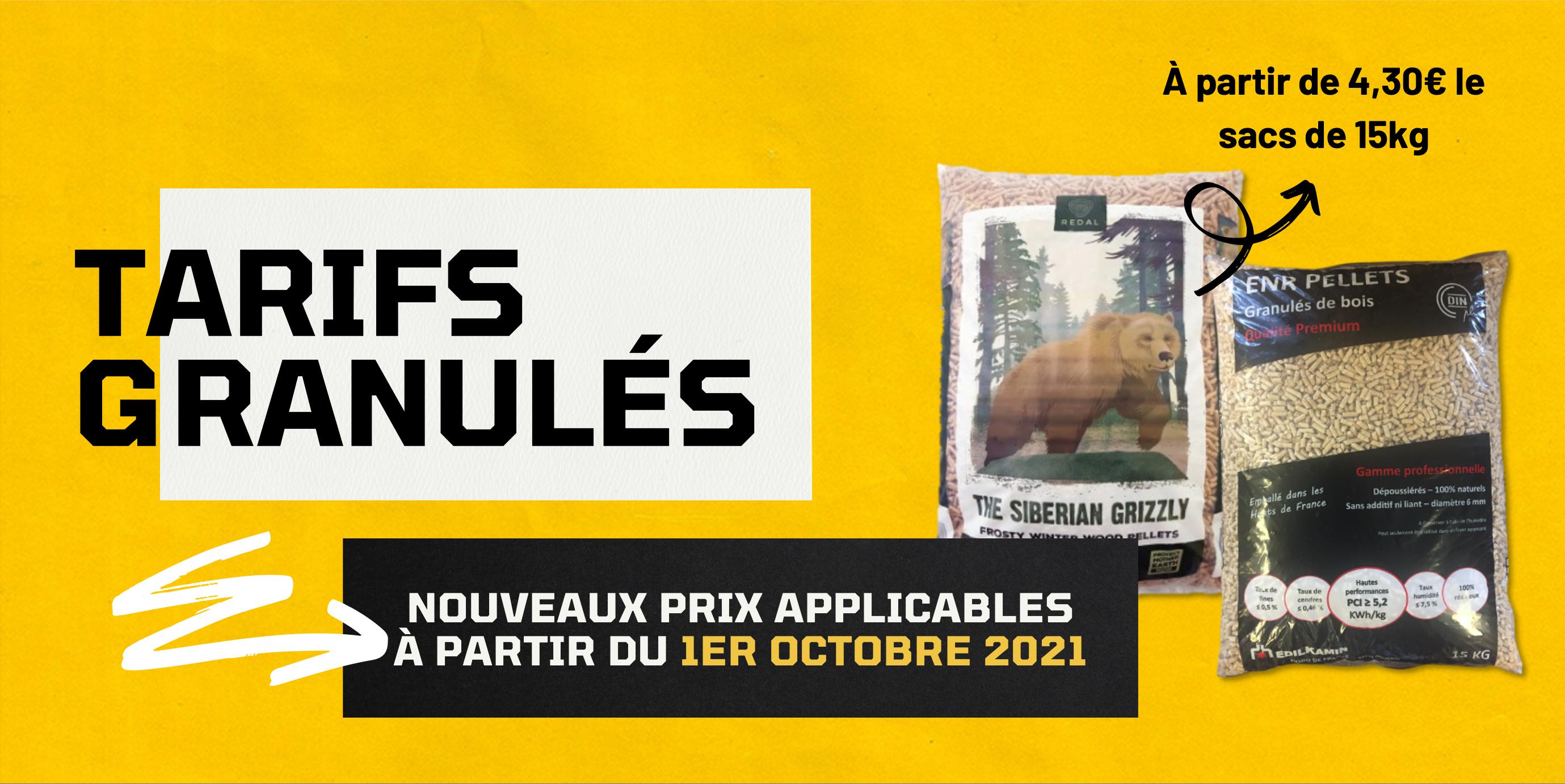 TARIFS GRANULÉS HIVER 2021